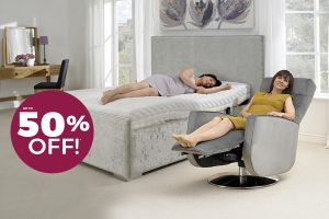 Woman in Orthapaedic bed and riser recliner chair