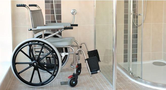 shower chair in bathroom