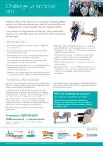 Challenge us on price leaflet